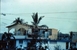 Damage to conventional housing at Luquillo Notice second floor wall blown in Hurricane Hugo Photo