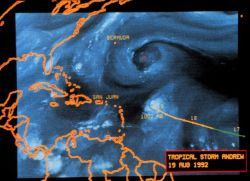 Hurricane Andrew - water vapor satellite image by METEOSAT 3 August 19, 1992 image also shows upper level low to the north of Andrew Photo