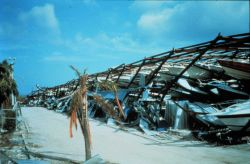 Hurricane Andrew - Boat stack storage facility destroyed by wind This structure was built with steel beams Boat damage total from Andrew approached $5 Photo