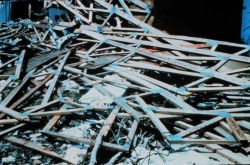 Hurricane Andrew - Roof trusses in tangled masses were common sight in area Photo