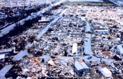 Hurricane Andrew - Dadeland Mobile Home Park after passage of Andrew Needless to say, mobile homes are not safe in strong wind events Photo