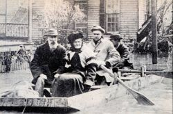 Improvised row boats built by National Cash Register Company were of great value in rescuing marooned residents of Dayton Photo
