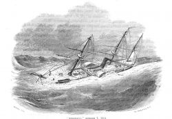 The steamer MISSISSIPPI laboring in a typhoon -
