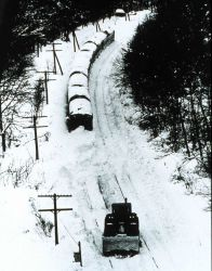 Even trains are stopped by heavy snows. Photo