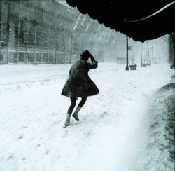 Miniskirts were in style then, but not the best for a snowy, windy night Photo