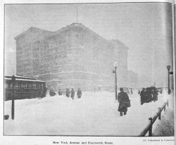 Walking through the snow on New York Avenue and Fourteenth Street during the