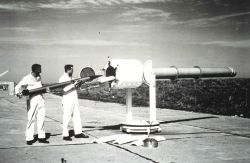 Preparing to launch a rocket for upper air observations. Photo
