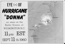 The track of Hurricane Donna as tracked by radar - Photo -13 of sequence Not the first hurricane seen on radar, this was the best tracked at time Photo