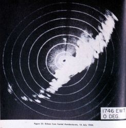 Echoes from frontal thunderstorms observed from a Radio Set SCR-584 mobile radar unit located at Spring Lake, New Jersey Photo