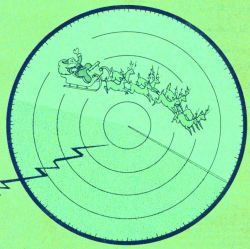 Christmas issue of Weather Bureau Topics with Santa Claus streaking across a weather radar Photo