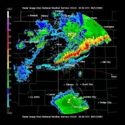 A strong squall line with associated gust front (blue reflection) south of strong red and yellow reflections) in northwest Kansas. Photo