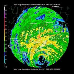Hurricane Katrina making landfall near Southwest Pass, Louisiana. Photo