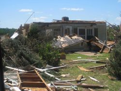 Damage to home on Piedmont Road west of Barnesville from Barnesville from the Pike, Lamar, Monroe, and Butts EF3 tornado. Photo