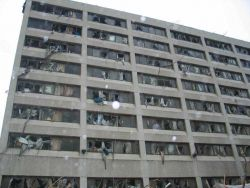 Blown out windows of Joplin Hospital that was effectively destroyed by an F-5 tornado Photo