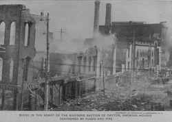 The business section of Dayton with buildings destroyed by both flood and fire. Photo