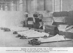 Unidentified bodies in the morgue at Dayton after the flood. Photo