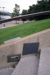 A plaque in the steps leading down to the Mississippi River commemorates the highest flood ever recorded at St Photo