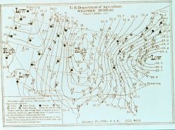 Weather Bureau weather map showing cold wave in center of country Northeaster attacking mid-Atlantic states Photo
