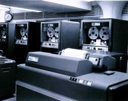 View of the electronic computer complex at the National Meteorological Center. Photo
