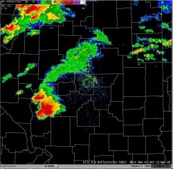 Central Illinois doppler radar display of tornadic supercell thunderstorm. Photo