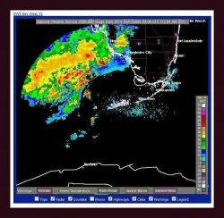 A special marine warning (deep yellow box north of Key West) for heavy thunderstorms. Photo