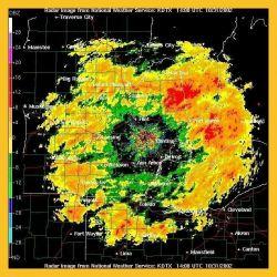 Donut shaped precipitation pattern surrounding Pontiac and Detroit Photo