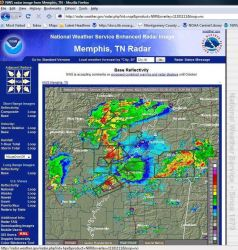 Tornado warnings issues by Memphis Weather Service Forecast Office superimposed on Doppler radar base reflectivity. Photo