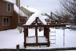 Playhouse turned to igloo. Photo