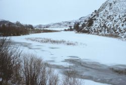 Middle Fork of the John Day River frozen over near Austin. Photo