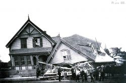 A house whose first floor collapsed following tornado passage at Lawrence Photo