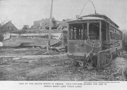 Many individuals lost their lives in this streetcar which was hit by the tornado . Photo