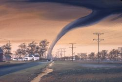 Artist's rendition of a tornado destroying a structure. Image