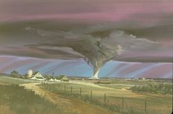 Artist's rendition of a tornado in farm country. Image