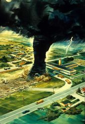 Artist's rendition of a tornado about to strike a school at the worst possible time while school buses are loading. Photo