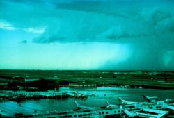 Thunderstorm and microburst in vicinity of airport. Photo