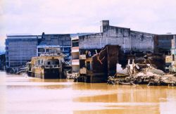 Flood damage along the Choluteca River caused by Hurricane Mitch Photo