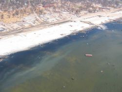 Debris from port facility strewn throughout Gulfport and ecological damage to beach. Photo