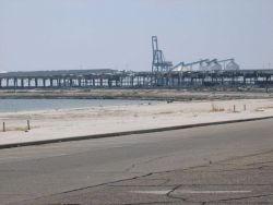 Gutted warehouses at Gulfport port facility. Photo