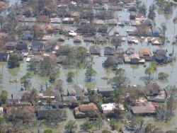 Views of inundated areas in New Orleans following breaking of the levees surrounding the city as the result of Hurricane Katrina. Photo