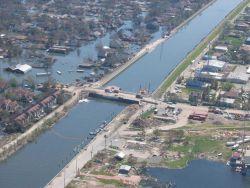 A view of levee repairs following Hurricane Katrina. Image