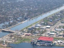 A view of levee repairs following Hurricane Katrina. Image