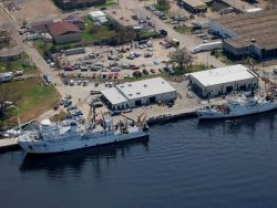 NOAA ships at the NOAA National Marine Fisheries Laboratory pier. Photo