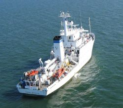 The NOAA Ship THOMAS JEFFERSON surveying approaches to harbors and the interior of harbors for obstructions Photo