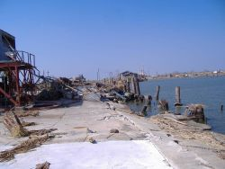 Piers, ice plant and even the concrete foundation destroyed by Katrina. Photo