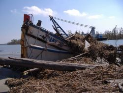 Is this a salvageable boat or just debris? The aftermath of Katrina. Photo