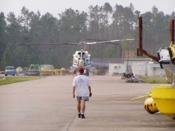 A NOAA helicopter landing at the NWS National Data Buoy Center following passage of Hurricane Katrina. Image