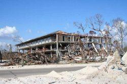 Remains of a hotel following passage of Hurricane Katrina. Photo