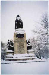 Baron Von Steuben shrugs off a little snow. Photo