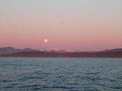 Moon rise over Alaskan mountains. Photo