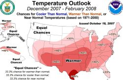 Winter temperature outlook from NOAA NCEP Climate Prediction Center Photo